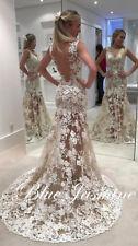 Backless Wedding Dress White/Ivory Lace Bridal Sheer Mermaid Custom Size 2-28+++