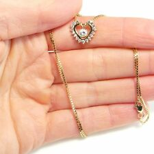 DAINTY Diamond Gold Pendant Necklace Chain 1960s Wedding Bridal 14K 10K HEART