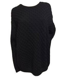Giorgio Armani Collezioni Men Sz 38 Chunky Cable Knit Black Sweater Merino Wool