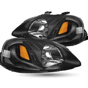 For 99-00 Honda Civic EK Black Headlights Assembly Amber Corner Lamps Left+Right