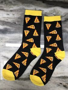 Black And Yellow Pizza Socks Medium USA Shipping