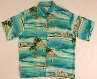 Whooos Hawaiian Shirt M Medium Palmtree Beach Vacation Island Travel 100% Rayon