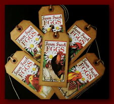 FARM FRESH EGGS AND CHICKENS  PRIMITIVE HANG TAGS - TWELVE