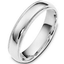 UNISEX 10K WHITE GOLD MENS WOMENS WEDDING BANDS,DOME MILGRAIN 5MM WEDDING RING