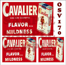 WEATHERED PEEL & STICK BUILDING SIGN DECALS CAVALIER CIGARETTES O SCALE OSV170