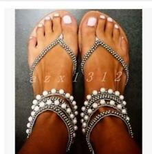 Chic Womens Clip Toe Pearls Flats Summer Ankle Strap Glitter Rhinestones Shoes