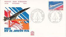 Enveloppe 1er jour FDC n°950 - 1976 : Concorde Paris Rio de Janeiro Vol Ccial
