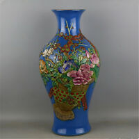 CHINESE OLD MARKED FAMILLE ROSE BLUE GLAZE RELIEF FLOWER PATTERN PORCELAIN VASE
