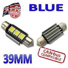 2 x 39mm Canbus Blue LED Number Plate 36mm C5W 239 3 SMD Bulbs