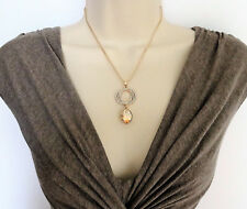 Beautiful Oval Champagne Yellow Diamante Pendant Necklace Earrings in Gold Tone