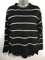 WOMENS M&S COLLECTION BLACK WHITE STRIPED KNIT LONG SLEEVE JUMPER SWEATER SMALL