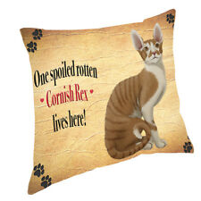 Cornish Rex Spoiled Rotten Cat Throw Pillow 14x14