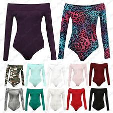 Womens Ladies Long & Sleeveless Off Shoulder Top Bodysuit Leotard Plus Size 8-22