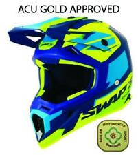 SWAP'S BLUR HELMET MOTOCROSS MX SMALL 56 BLUE YELLOW (GOLD ACU)