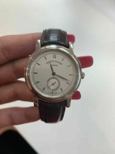 Franck Muller 1995 Leather band/ silver index dial watch