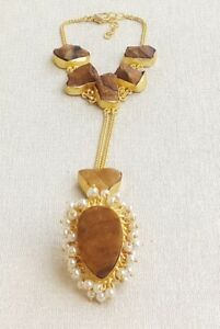 Handmade Gold Polished Rough Tiger Eye PearlStone Bracelet BR-009-7