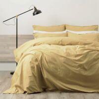 RENEE TAYLOR Lorimer 300TC Cotton Stonewash Quilt Cover Set MUSTARD