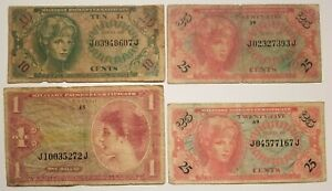 Lot of (4) Series 641 MPC Notes Military Payment Certificates, 10C, 25C X2 & $1