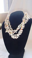 Authentic 5 Strand Pearl Necklace with gemstones with Sterling Silver Clamp