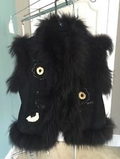 JEAN CRISON FOURRURE BLACK SUEDE EMBELLISHED GENUINE FOX FUR VEST SZ S