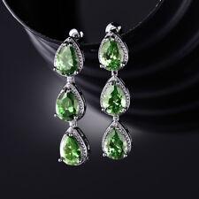 Dangle Drop Pear Emerald Silver White Gold Filled Women Lady Ear Stud Earrings