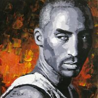 oil painting, palette knife painting ,original portrait painting Kobe Bryant