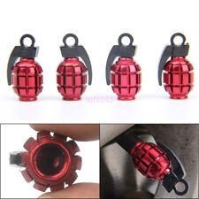 4pcs Tire Valve Stem Caps Wheel Air Dust Cover Cap Set - Red Metal Grenade Bomb