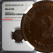GERMANY - Empire Copper 1874-B  2 Pfennig NGC MS62 BN TOP GRADED BY NGC KM# 2