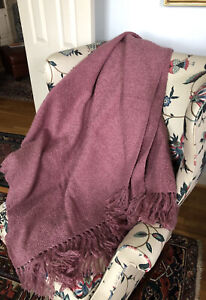 NEW CHURCHILL WEAVERS Chenille Throw,Plum, Incl a Note by signed by the Weaver