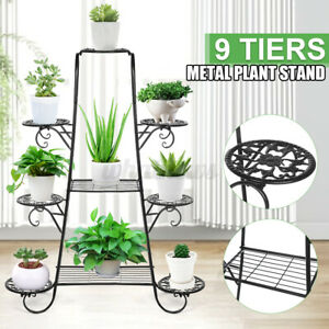 9 Tier Ladder Metal Plant Stand Flower Pot Display Rack Garden Corner In/Outdoor