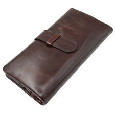 JinDiLong Mens Genuine Leather long bifold wallet Vintage style Money Purse