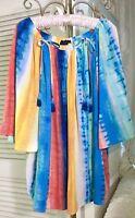 NEW Plus Size 2X 3X Blue Orange Yellow Tie Dye Tassel Boho Top Blouse Shirt $79