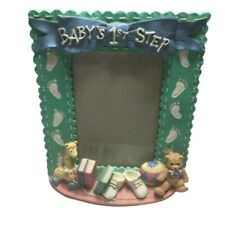 Baby Nursery Picture Frame Baby First Steps 5 X 7 Blue Green