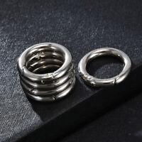 6Pcs Mini Silver Circle Round Carabiner Spring Snap Clip Hook Keychains Hiking