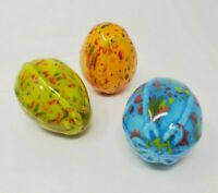 Vintage Ceramic Easter Eggs Speckled Drip Glaze Boho Spring Decor