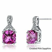 18K White Gold 10mm Pink Sapphire with Swarovski Crystal Stone Stud Earrings