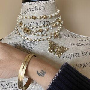 Vintage Gold Filigree Clip On Butterfly Brooch Pearl Boho Bangle Necklace Set