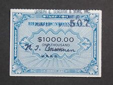 (1) used 1946 $1,000.00 Joseph E. Seagrams & Sons Rectification stamp.