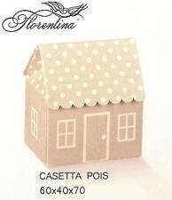Scatola Bomboniera Casetta Pois Atelier tortora  60X40X70mm n 10 pz art. 16679