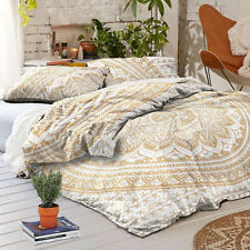 golden mandala bed cover indian 100% cotton bedding set with pillow cases