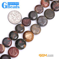 """Natural Picasso Jasper Gemstone Coin Flatback Beads Free Shipping Strand 15"""""""