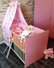 Lit Bébé Complet Lot Lit de Jeunesse Convertible 5 Couleurs 60x120 Rose Blanc