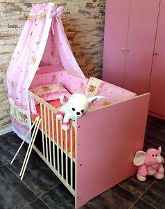 Gitterbett Komplett Set Babybett Kinderbett 5 Farben UMBAUBAR 60x120 Juniorbett