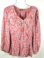 Chaps Women's XL Spring Ruffle Multi-color Floral Boho Peasant Top Blouse NWT