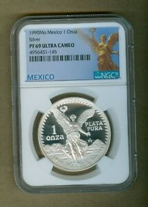 1990-Mo Mexico Proof Silver Libertad 1oz Silver Coin NGC PF 69 Ultra Cameo!!