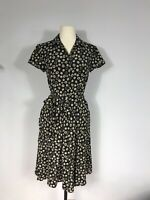 Sundance Catalog Black and Tan Floral Print Silk Blend Belted Dress Women's 4