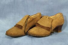 Vtg 50s 60s Light Brown Suede Shoes Shaggy Dog Ankle Booties Oxford Heel 5.5-6