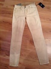 BNWT🌹7 For All Mankind🌹Size 8 The Skinny Second Skin Stretch Jeans Cream W25