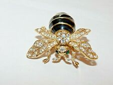 CINER GOLD Plated 1892 BEE PIN BROOCH SWAROVSKI Crystal BLACK Enamel Green Eyes
