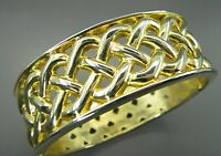 Vintage BRIGHT GOLD TONE CLAMPER BANGLE BRACELET Woven Knot Style BRAIDED CELTIC